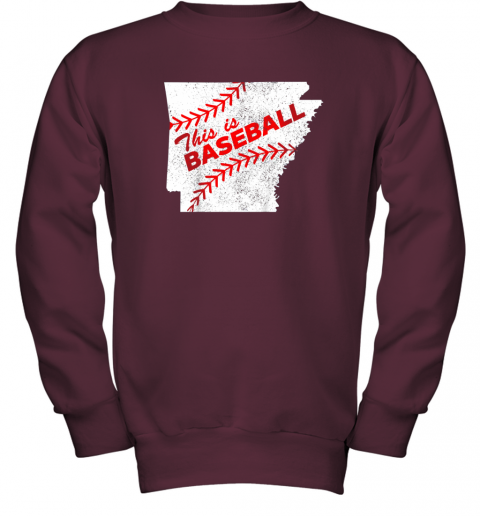 muv4 this is baseball arkansas with red laces youth sweatshirt 47 front maroon
