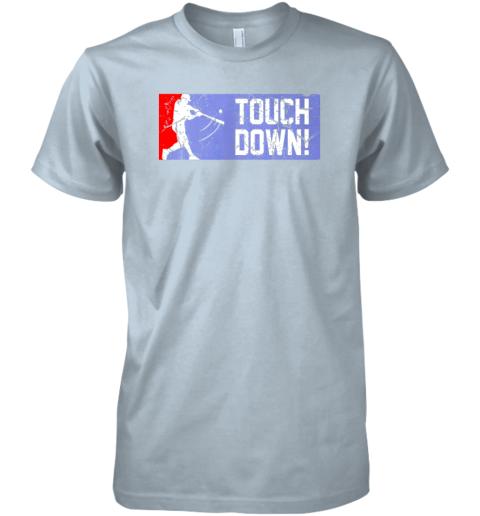 0p8j touchdown baseball funny family gift base ball premium guys tee 5 front light blue