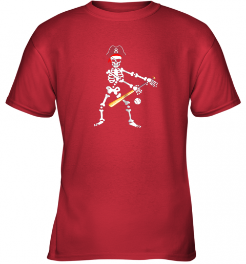 wb7n skeleton pirate floss dance with baseball shirt halloween youth t shirt 26 front red