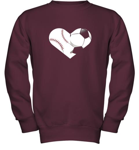 mvfz soccer baseball heart sports tee baseball soccer youth sweatshirt 47 front maroon