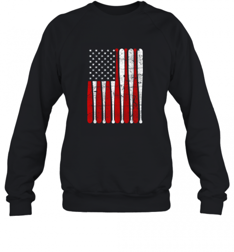 Vintage American Flag Baseball Men Boys Apparel Dad 4th July Gift Sweatshirt