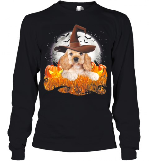 Cute Cocker Spaniel dog witch on Halloween pumpkin Youth Long Sleeve