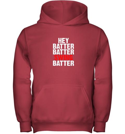 9k4w hey batter batter swing batter funny baseball youth hoodie 43 front red