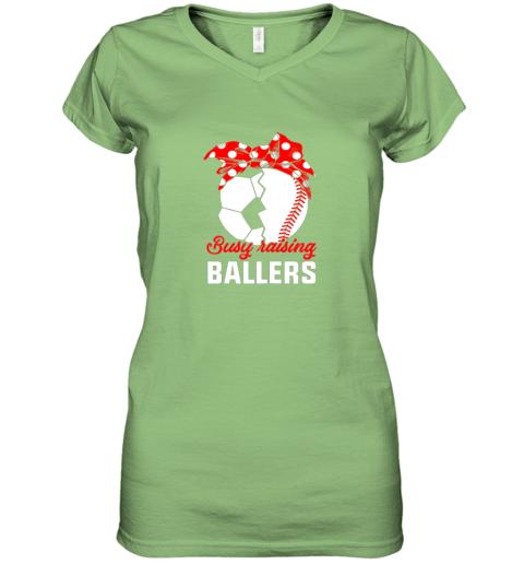 uln5 busy raising a ballerfunny baseball soccer mom women v neck t shirt 39 front lime