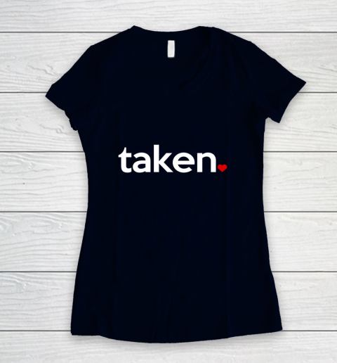 Taken Sorry I m Taken Gift for Valentine 2021 Couples Women's V-Neck T-Shirt 2