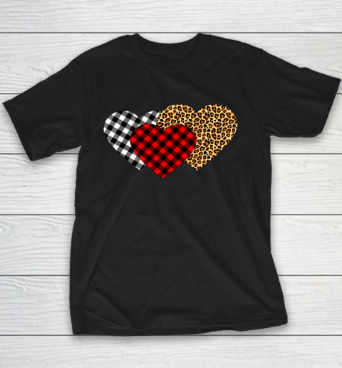 Leopard Heart Buffalo Plaid Heart Valentine Day Youth T-Shirt