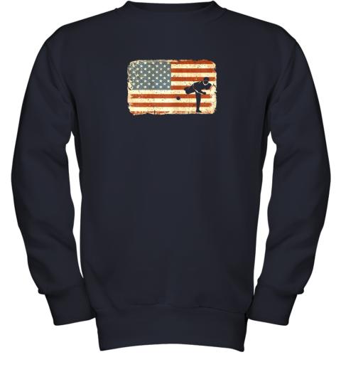 rpzk vintage baseball pitcher shirt american flag youth sweatshirt 47 front navy