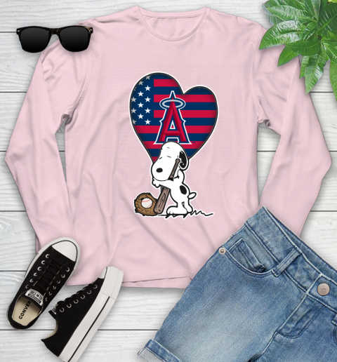 Los Angeles Angels MLB Baseball The Peanuts Movie Adorable Snoopy Youth Long Sleeve 10