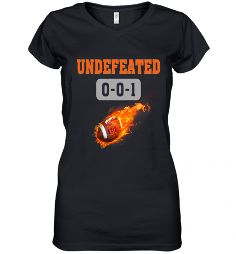 NFL CINCINNATI BENGALS LOGO Undefeated Women's V-Neck T-Shirt