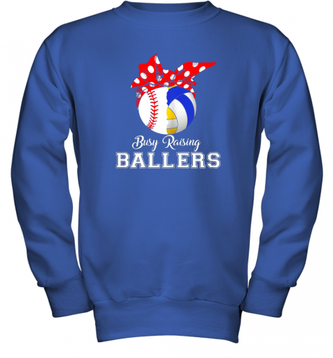 uisy baseball volleyball busy raising ballers shirt mothers day youth sweatshirt 47 front royal