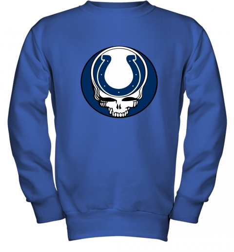 7zp8 nfl team indianapolis colts x grateful dead logo band youth sweatshirt 47 front royal
