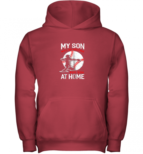 osfn my son will be waiting for you at home baseball dad mom youth hoodie 43 front red