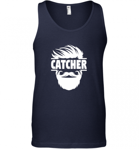 y8to bearded baseball catcher unisex tank 17 front navy