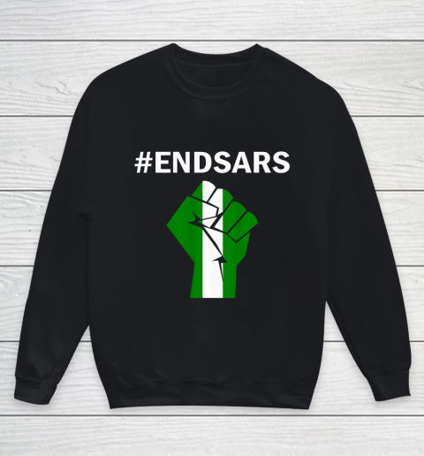EndSARS End SARS Nigeria Flag Colors Strong Fist Protest Youth Sweatshirt