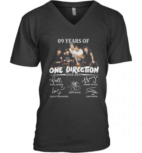 09 Years Of One Direction 2010 2019 Signatures V-Neck T-Shirt