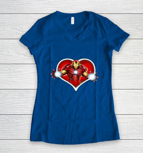 Marvel Iron Man Heart Blaster Glow Valentine Graphic Women's V-Neck T-Shirt 7