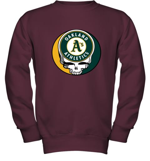 06ns oakland athletics the grateful dead baseball mlb mashup youth sweatshirt 47 front maroon