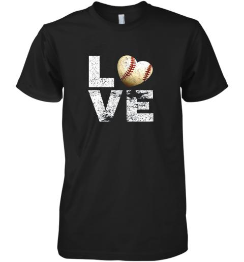 I Love Baseball Funny Gift for Baseball Fans Lovers Premium Men's T-Shirt