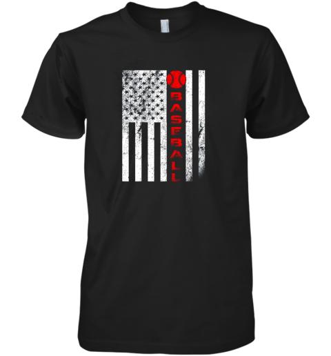 USA Red White  Vintage American Flag Baseball Gift Premium Men's T-Shirt