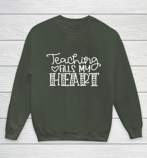 Teaching Fills My Heart Valentine Cute Love Teacher Student Youth Sweatshirt 8