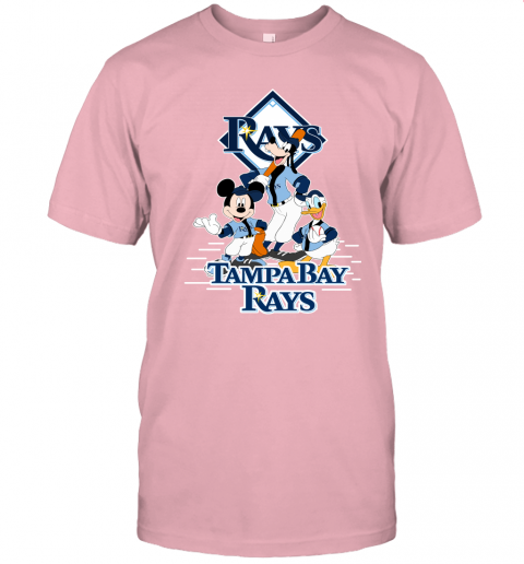 ht9i tampa bay rays mickey donald and goofy baseball jersey t shirt 60 front pink