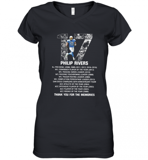 17 Philip Rivers Thank You For The Memories Women's V-Neck T-Shirt