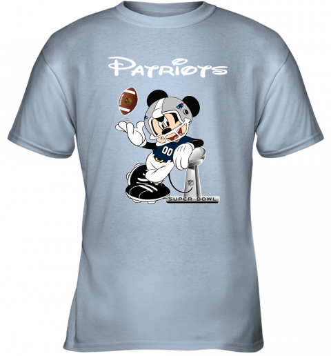 q7km mickey patriots taking the super bowl trophy football youth t shirt 26 front light blue
