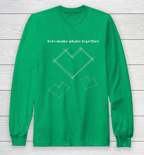 Valentine Architect T Shirt Heart Architecture Student Long Sleeve T-Shirt 4