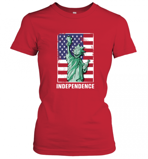 nzlr rick and morty statue of liberty independence day 4th of july shirts ladies t shirt 20 front red