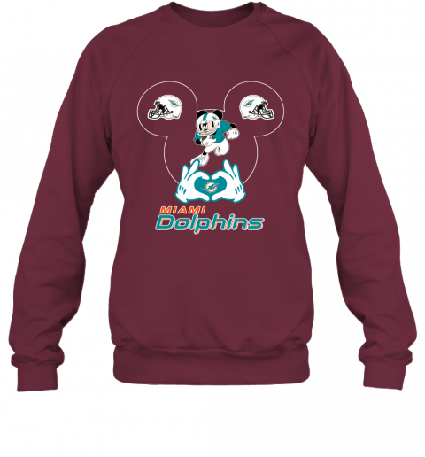 uqpy i love the dolphins mickey mouse miami dolphins sweatshirt 35 front maroon