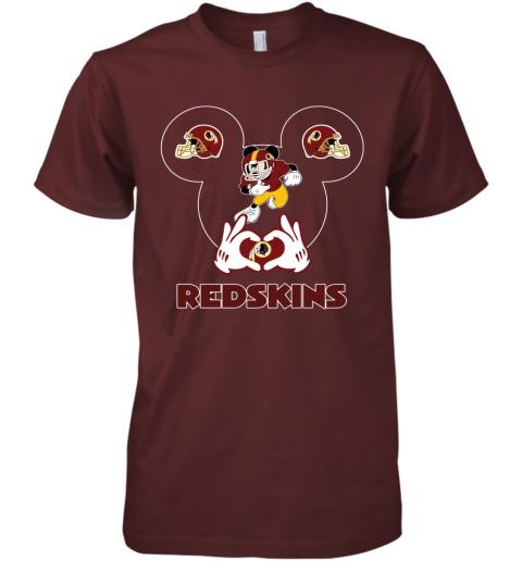 hkdl i love the redskins mickey mouse washington redskins premium guys tee 5 front maroon