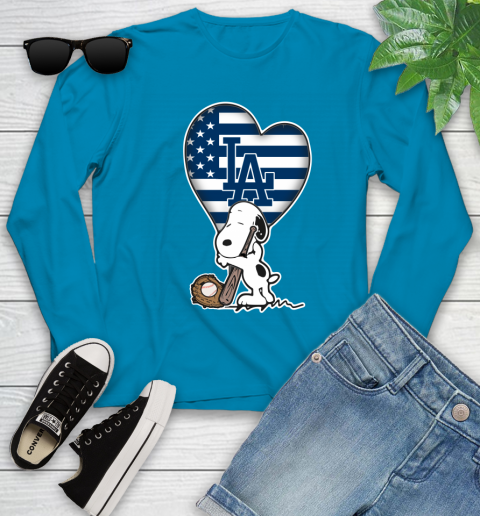 Los Angeles Dodgers MLB Baseball The Peanuts Movie Adorable Snoopy Youth Long Sleeve 7