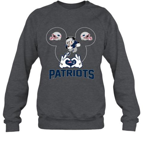 rmpk i love the patriots mickey mouse new england patriots sweatshirt 35 front dark heather