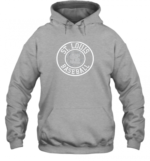 ybwr vintage st louis baseball missouri cardinal badge gift hoodie 23 front sport grey
