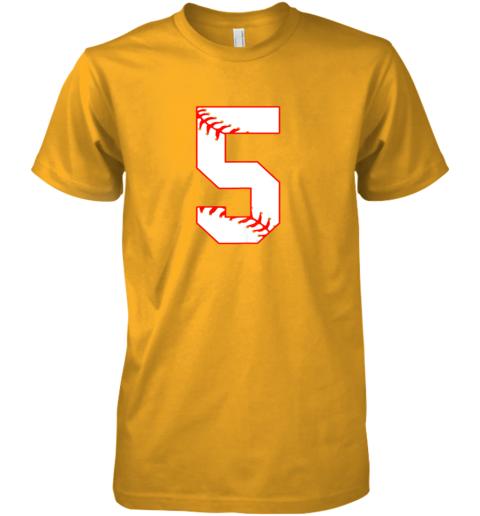 053k cute fifth birthday party 5th baseball shirt born 2014 premium guys tee 5 front gold