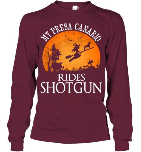 Presa Canario Rides Shotgun Dog Lover Halloween Party Gift Youth Long Sleeve