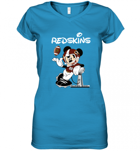 vqlr mickey redskins taking the super bowl trophy football women v neck t shirt 39 front sapphire
