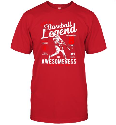 7pfz kids 8th birthday gift baseball legend 8 years jersey t shirt 60 front red