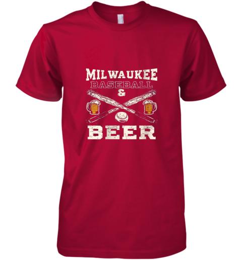 1kwr love milwaukee love baseball premium guys tee 5 front red