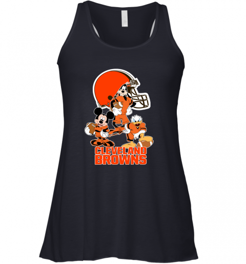 pwk3 mickey donald goofy the three cleveland browns football flowy tank 32 front midnight
