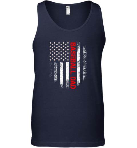 dmqe vintage usa american flag proud baseball dad player unisex tank 17 front navy