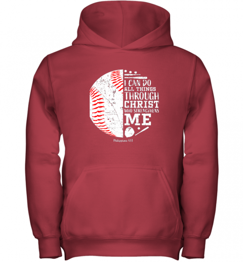 nrrl christian baseball shirts i can do all things through christ youth hoodie 43 front red