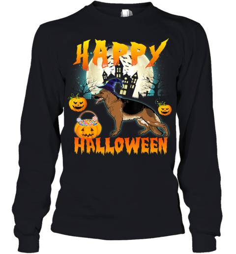 Happy Halloween Cute German Shepherd Dog Witch Pumpkin Ghost Youth Long Sleeve