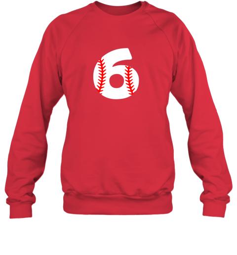 ryhv sixth birthday 6th baseball shirtnumber 6 born in 2013 sweatshirt 35 front red