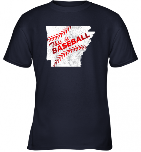 5stn this is baseball arkansas with red laces youth t shirt 26 front navy