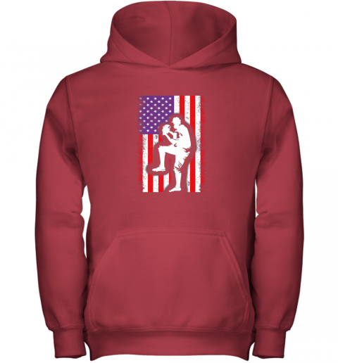lbr0 vintage usa american flag baseball player team gift youth hoodie 43 front red