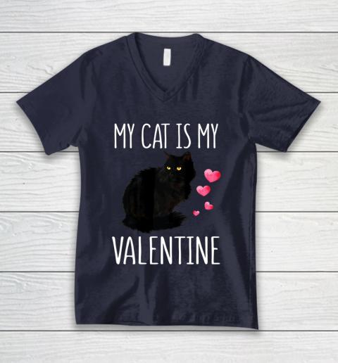Black Cat Shirt For Valentine s Day My Cat Is My Valentine V-Neck T-Shirt 2