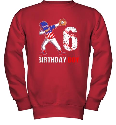 zcsm kids 6 years old 6th birthday baseball dabbing shirt gift party youth sweatshirt 47 front red