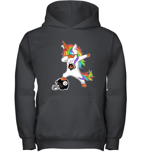 6trt football dabbing unicorn steps on helmet cincinnati bengals youth hoodie 43 front black