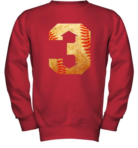 qrkl three up three down baseball 3 up 3 down youth sweatshirt 47 front red